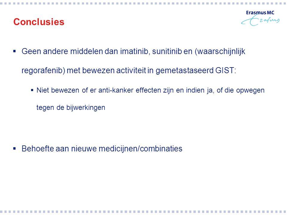 Conclusies  Geen andere middelen dan imatinib, sunitinib en (waarschijnlijk regorafenib) met bewezen activiteit in gemetastaseerd GIST:  Niet beweze