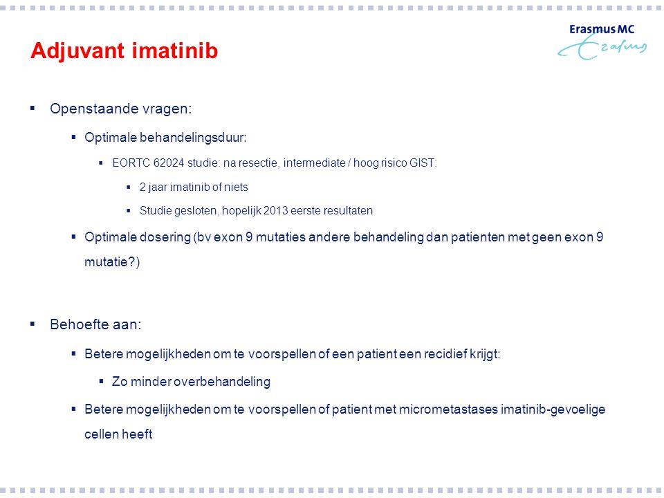 Adjuvant imatinib  Openstaande vragen:  Optimale behandelingsduur:  EORTC 62024 studie: na resectie, intermediate / hoog risico GIST:  2 jaar imat