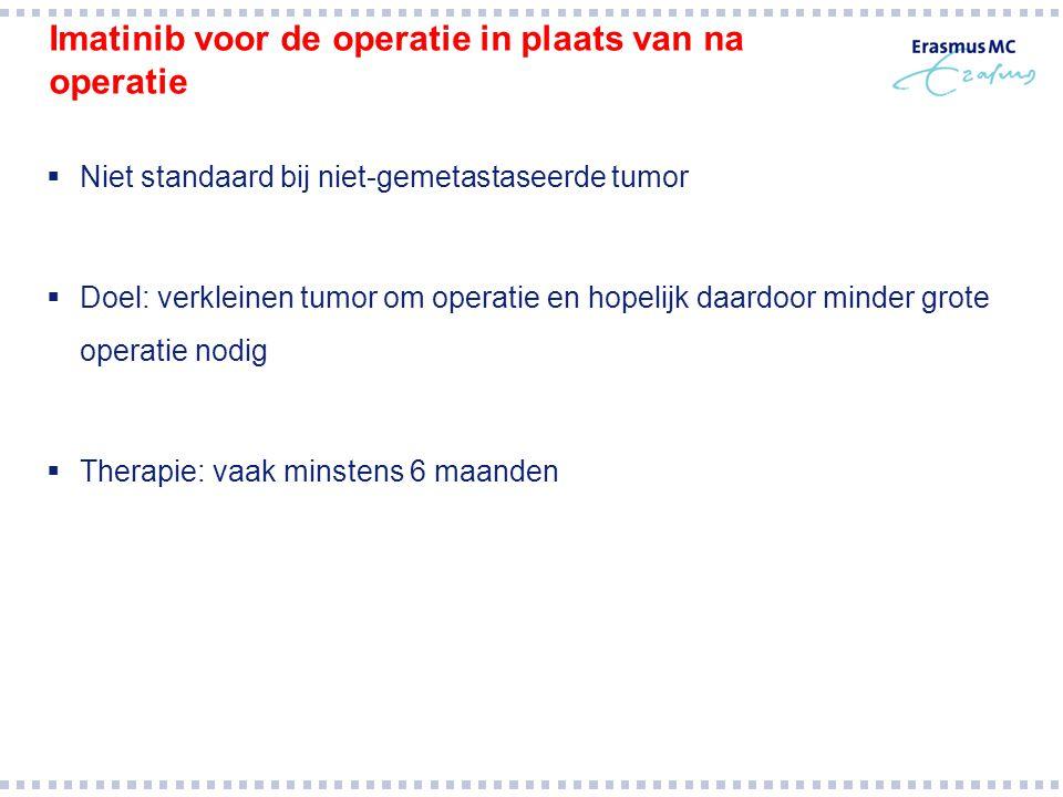 Imatinib voor de operatie in plaats van na operatie  Niet standaard bij niet-gemetastaseerde tumor  Doel: verkleinen tumor om operatie en hopelijk d