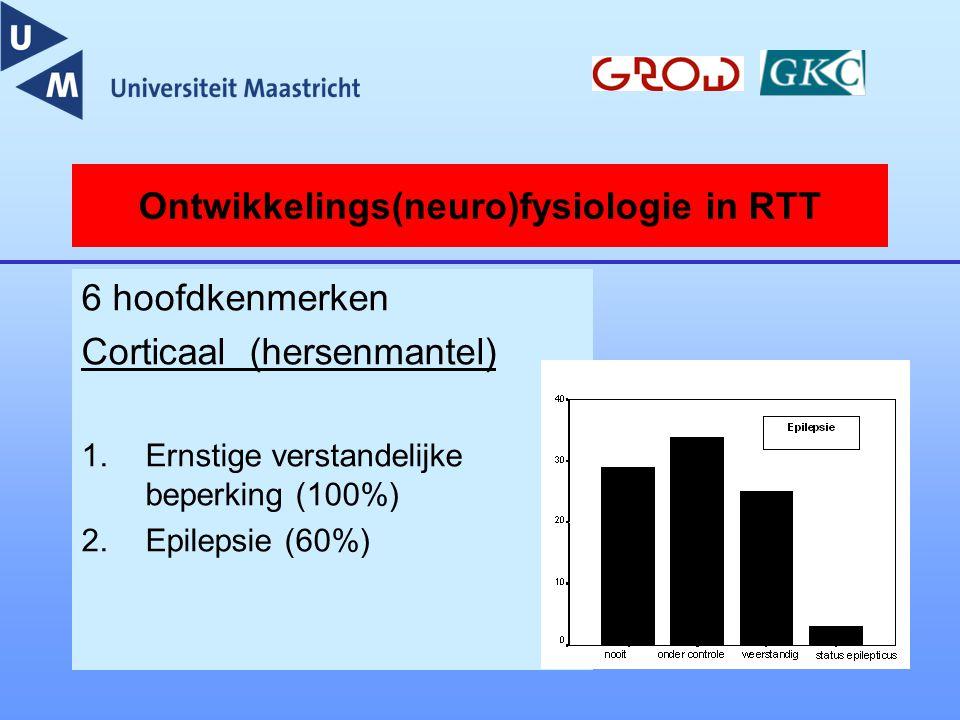 Ontwikkelings(neuro)fysiologie in RTT 6 hoofdkenmerken Corticaal (hersenmantel) 1.Ernstige verstandelijke beperking (100%) 2.Epilepsie (60%)