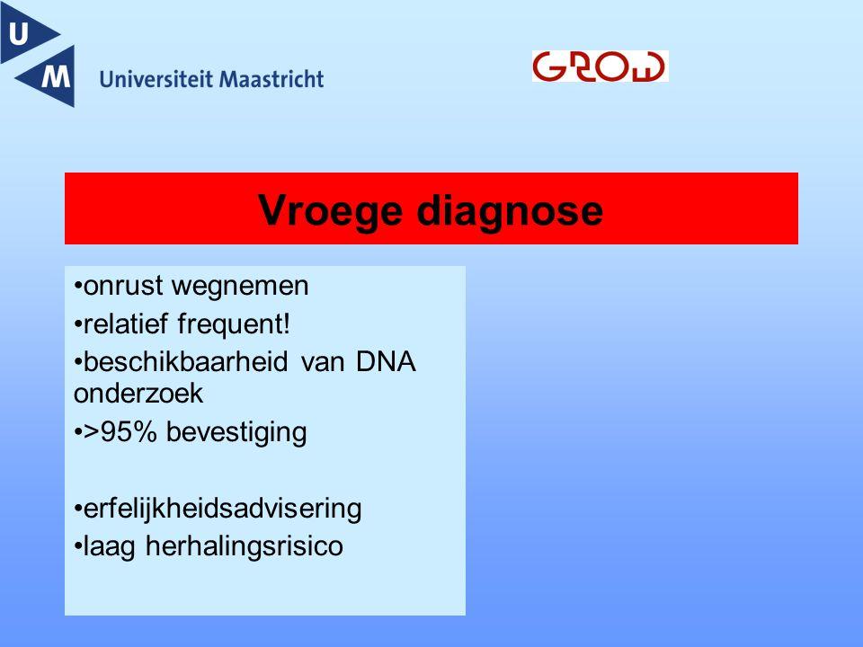 Vroege diagnose onrust wegnemen relatief frequent! beschikbaarheid van DNA onderzoek >95% bevestiging erfelijkheidsadvisering laag herhalingsrisico