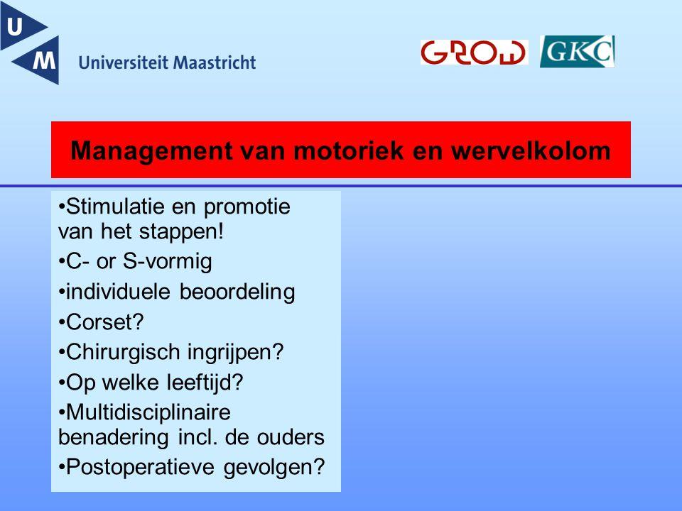 Management van motoriek en wervelkolom Stimulatie en promotie van het stappen! C- or S-vormig individuele beoordeling Corset? Chirurgisch ingrijpen? O
