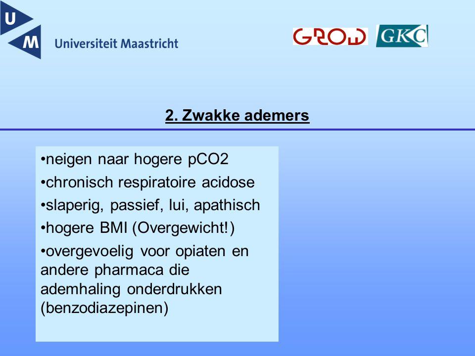 2. Zwakke ademers neigen naar hogere pCO2 chronisch respiratoire acidose slaperig, passief, lui, apathisch hogere BMI (Overgewicht!) overgevoelig voor