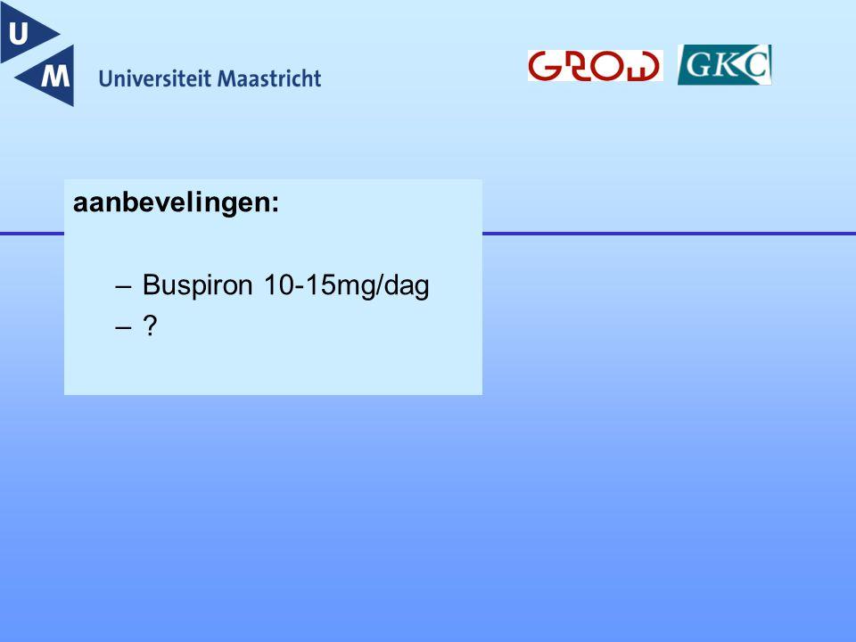 aanbevelingen: –Buspiron 10-15mg/dag –?