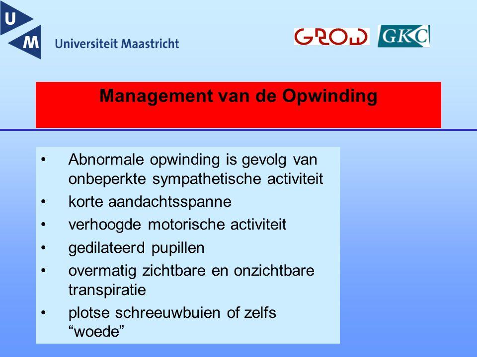 Management van de Opwinding Abnormale opwinding is gevolg van onbeperkte sympathetische activiteit korte aandachtsspanne verhoogde motorische activite