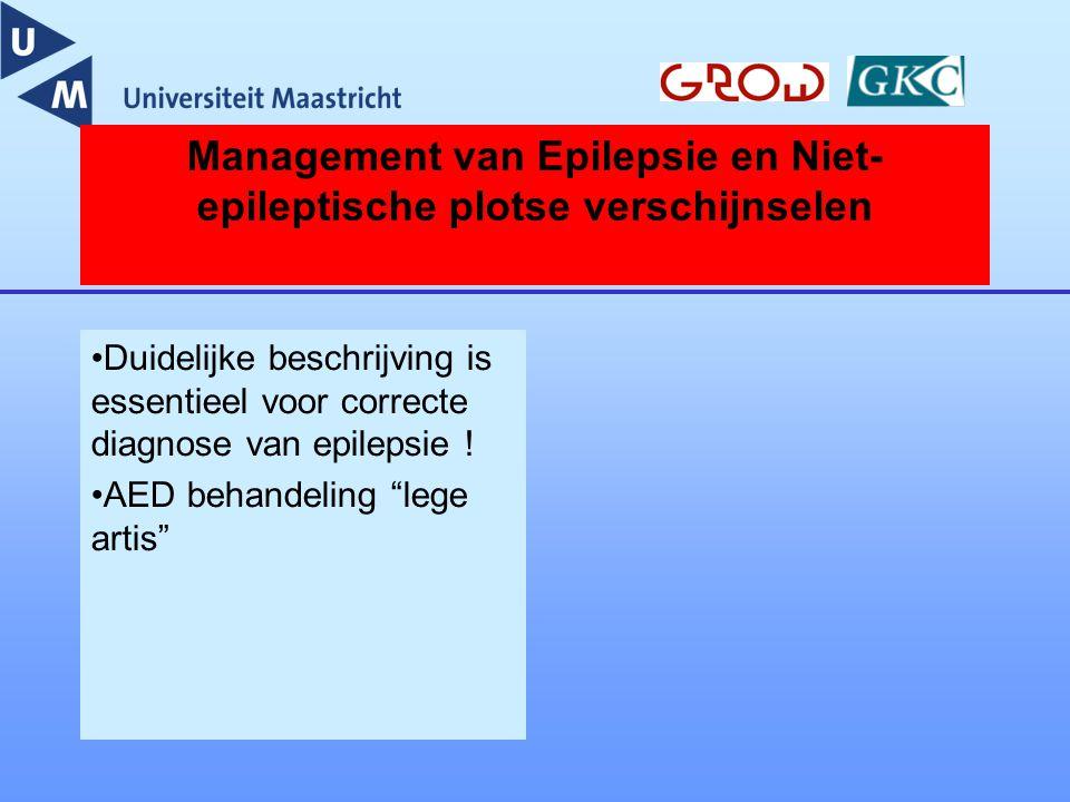 Management van Epilepsie en Niet- epileptische plotse verschijnselen Duidelijke beschrijving is essentieel voor correcte diagnose van epilepsie ! AED