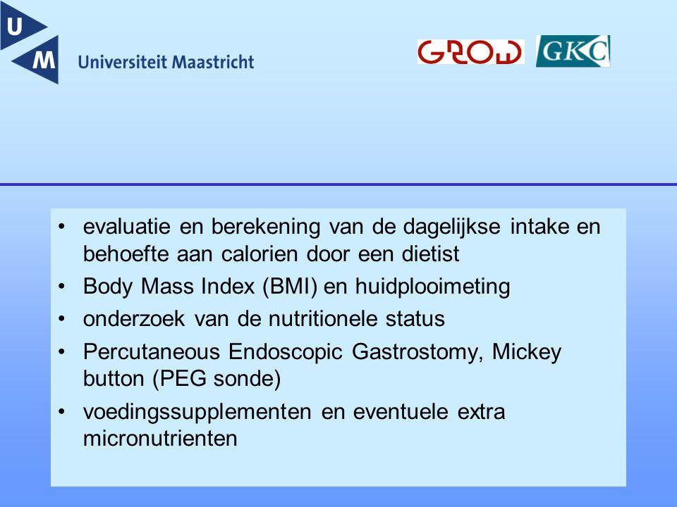 evaluatie en berekening van de dagelijkse intake en behoefte aan calorien door een dietist Body Mass Index (BMI) en huidplooimeting onderzoek van de n
