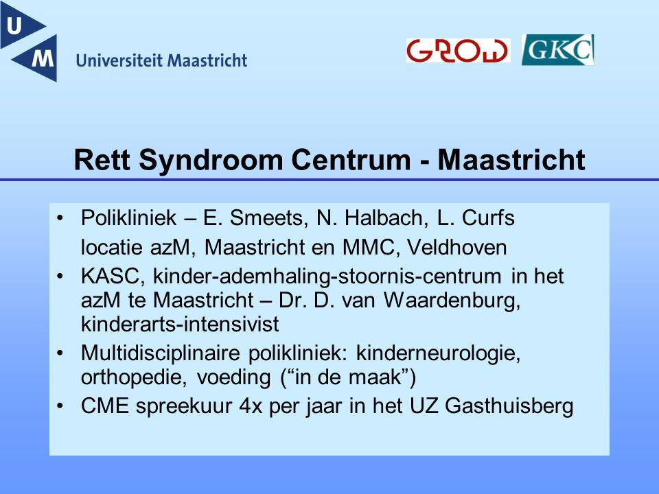 Rett Syndroom Centrum - Maastricht Polikliniek – E. Smeets, N. Halbach, L. Curfs locatie azM, Maastricht en MMC, Veldhoven KASC, kinder-ademhaling-sto