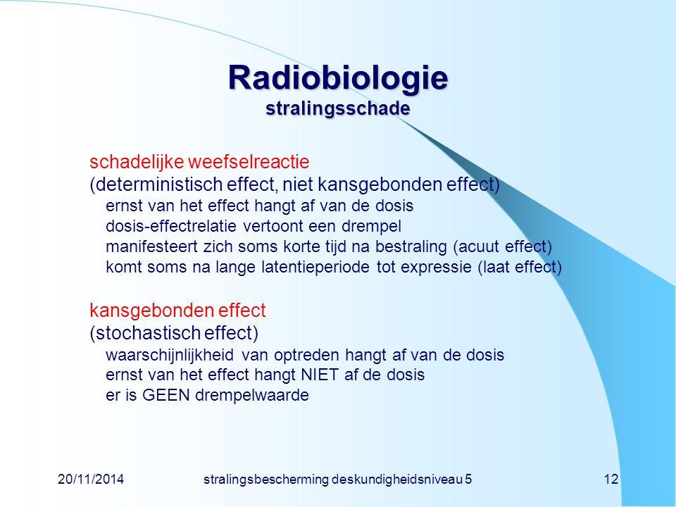 20/11/2014stralingsbescherming deskundigheidsniveau 512 Radiobiologie stralingsschade schadelijke weefselreactie (deterministisch effect, niet kansgebonden effect) ernst van het effect hangt af van de dosis dosis-effectrelatie vertoont een drempel manifesteert zich soms korte tijd na bestraling (acuut effect) komt soms na lange latentieperiode tot expressie (laat effect) kansgebonden effect (stochastisch effect) waarschijnlijkheid van optreden hangt af van de dosis ernst van het effect hangt NIET af de dosis er is GEEN drempelwaarde
