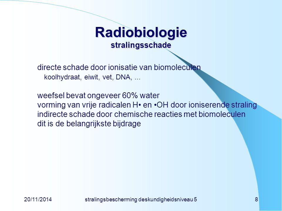 20/11/2014stralingsbescherming deskundigheidsniveau 519 Radiobiologie kansgebonden effect en dosis-effectrelatie