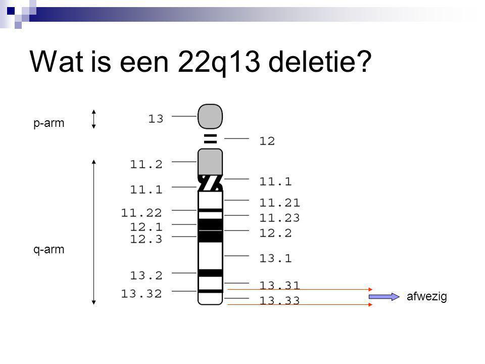 Wat is een 22q13 deletie? p-arm q-arm afwezig