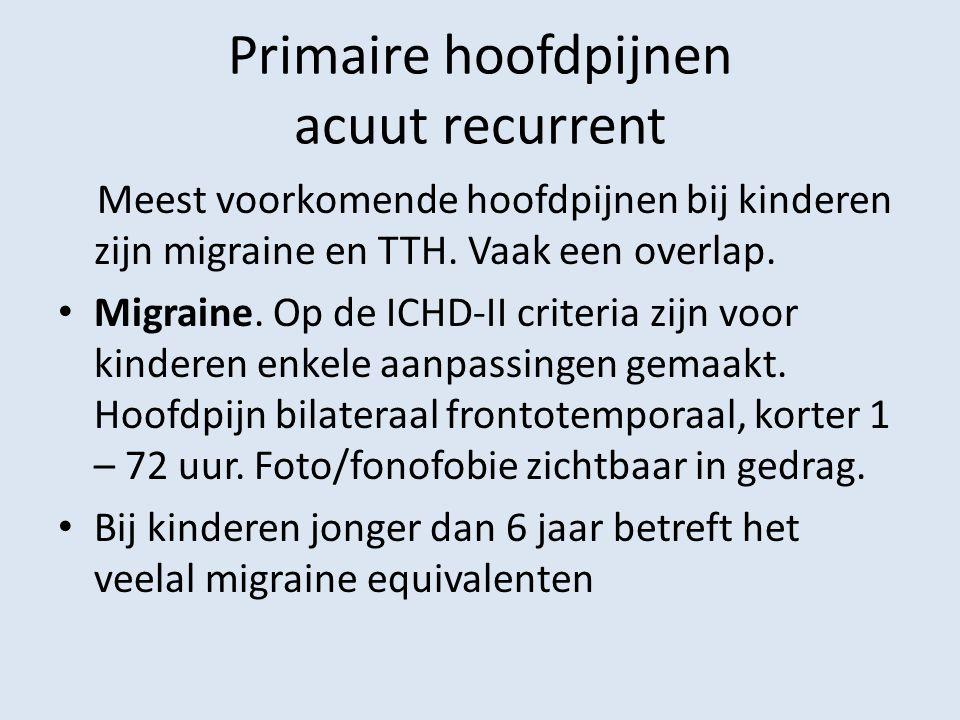 Primaire hoofdpijnen acuut recurrent Meest voorkomende hoofdpijnen bij kinderen zijn migraine en TTH. Vaak een overlap. Migraine. Op de ICHD-II criter