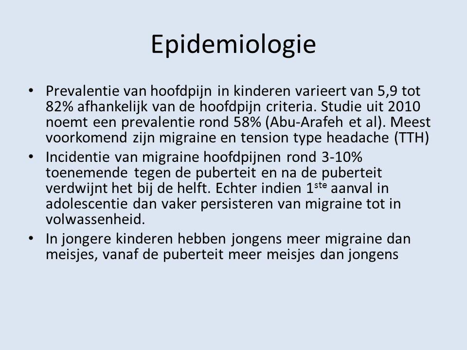 Epidemiologie Prevalentie van hoofdpijn in kinderen varieert van 5,9 tot 82% afhankelijk van de hoofdpijn criteria. Studie uit 2010 noemt een prevalen