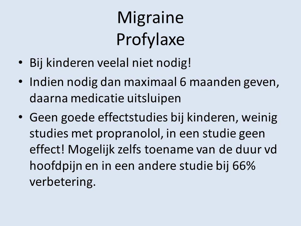 Migraine Profylaxe Bij kinderen veelal niet nodig! Indien nodig dan maximaal 6 maanden geven, daarna medicatie uitsluipen Geen goede effectstudies bij