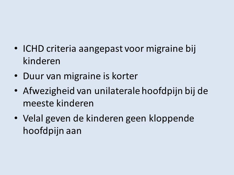 ICHD criteria aangepast voor migraine bij kinderen Duur van migraine is korter Afwezigheid van unilaterale hoofdpijn bij de meeste kinderen Velal geve