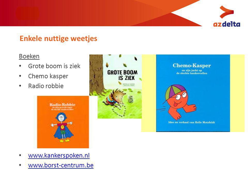 Boeken Grote boom is ziek Chemo kasper Radio robbie www.kankerspoken.nl www.borst-centrum.be Enkele nuttige weetjes