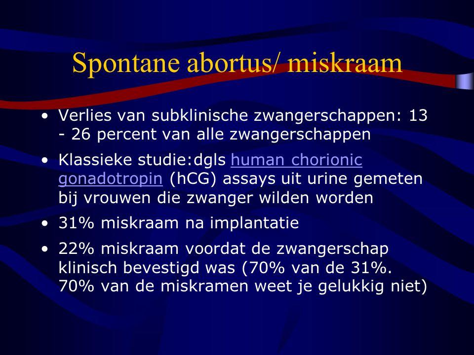 Spontane abortus/ miskraam Verlies van subklinische zwangerschappen: 13 - 26 percent van alle zwangerschappen Klassieke studie:dgls human chorionic gonadotropin (hCG) assays uit urine gemeten bij vrouwen die zwanger wilden wordenhuman chorionic gonadotropin 31% miskraam na implantatie 22% miskraam voordat de zwangerschap klinisch bevestigd was (70% van de 31%.