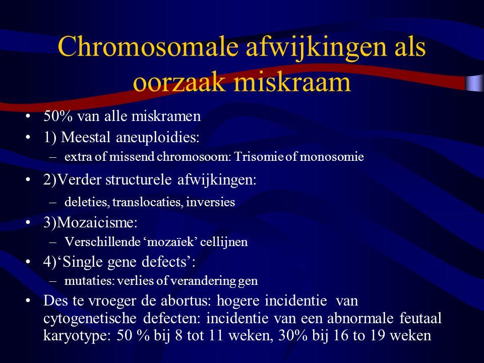 Chromosomale afwijkingen als oorzaak miskraam 50% van alle miskramen 1) Meestal aneuploidies: –extra of missend chromosoom: Trisomie of monosomie 2)Verder structurele afwijkingen: –deleties, translocaties, inversies 3)Mozaicisme: –Verschillende 'mozaïek' cellijnen 4)'Single gene defects': –mutaties: verlies of verandering gen Des te vroeger de abortus: hogere incidentie van cytogenetische defecten: incidentie van een abnormale feutaal karyotype: 50 % bij 8 tot 11 weken, 30% bij 16 to 19 weken