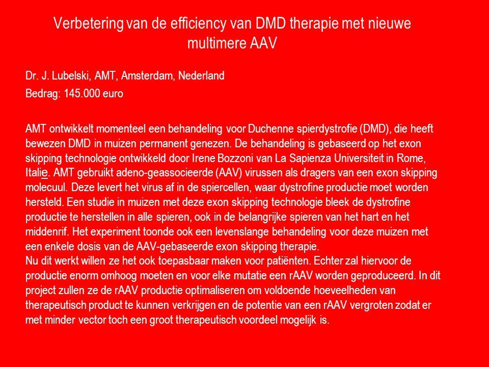 Verbetering van de efficiency van DMD therapie met nieuwe multimere AAV Dr. J. Lubelski, AMT, Amsterdam, Nederland Bedrag: 145.000 euro AMT ontwikkelt