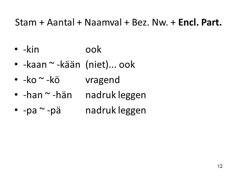 Stam + Aantal + Naamval + Bez. Nw. + Encl. Part. -kinook -kaan ~ -kään(niet)... ook -ko ~ -kövragend -han ~ -hännadruk leggen -pa ~ -pänadruk leggen 1