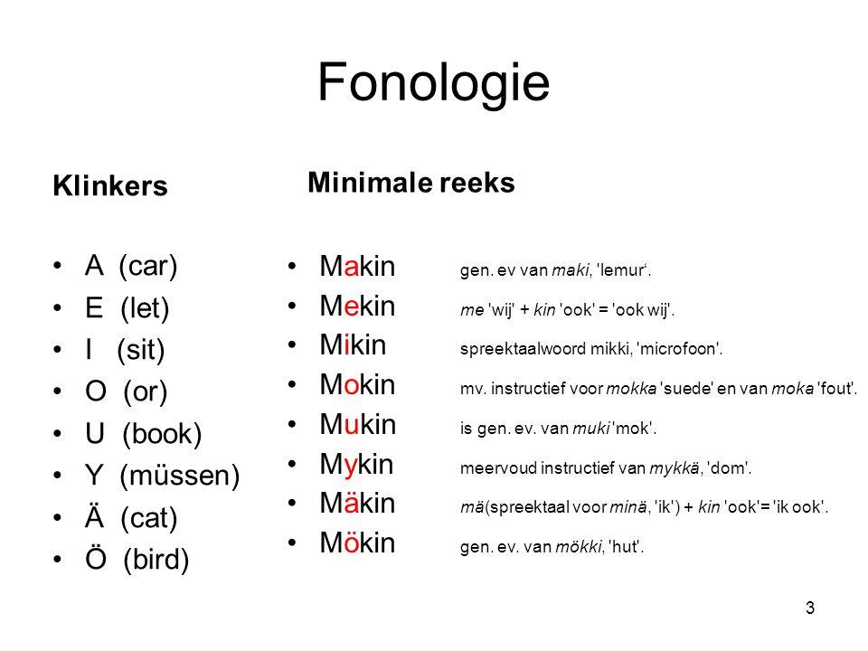 Fonologie Klinkers A (car) E (let) I (sit) O (or) U (book) Y (müssen) Ä (cat) Ö (bird) Minimale reeks Makin gen. ev van maki, 'lemur'. Mekin me 'wij'