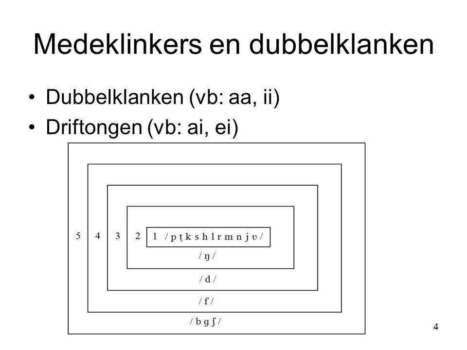 Medeklinkers en dubbelklanken Dubbelklanken (vb: aa, ii) Driftongen (vb: ai, ei) 4
