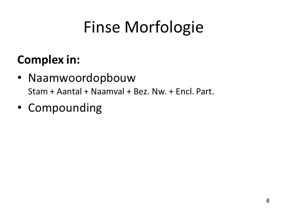 Finse Morfologie Complex in: Naamwoordopbouw Stam + Aantal + Naamval + Bez. Nw. + Encl. Part. Compounding 6