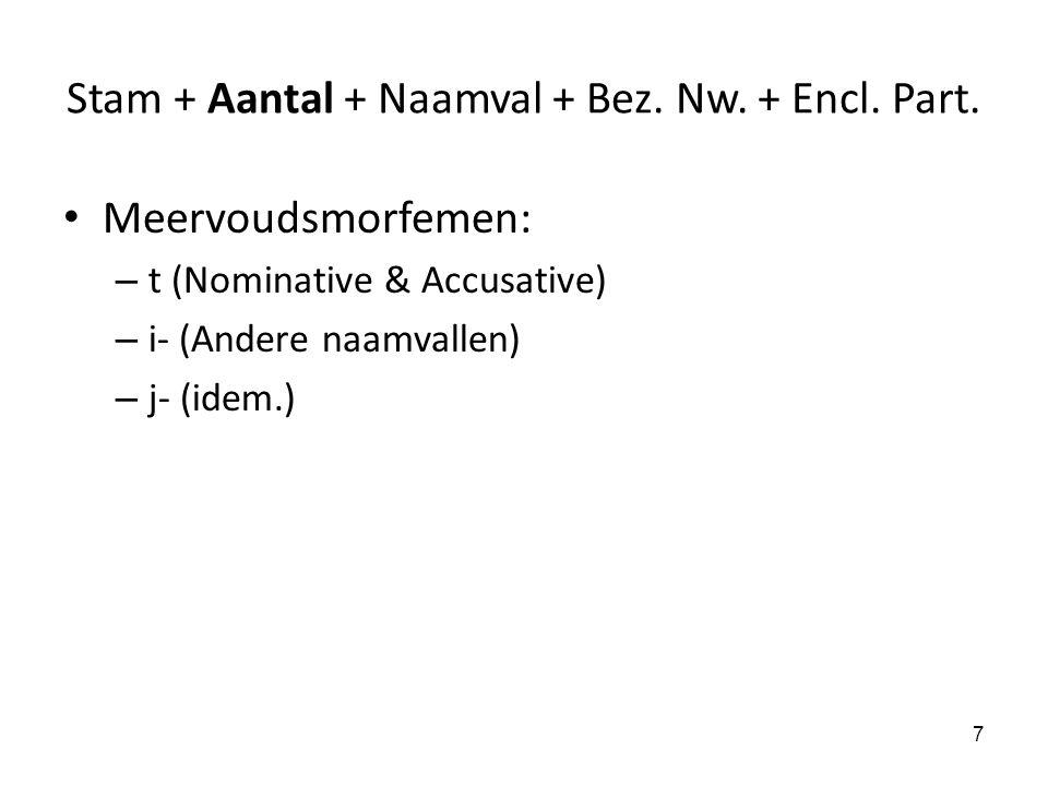 Stam + Aantal + Naamval + Bez. Nw. + Encl. Part. Meervoudsmorfemen: – t (Nominative & Accusative) – i- (Andere naamvallen) – j- (idem.) 7