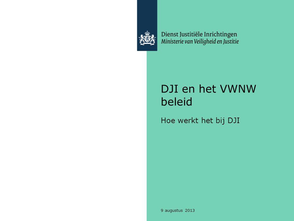DJI en het VWNW beleid Hoe werkt het bij DJI 9 augustus 2013