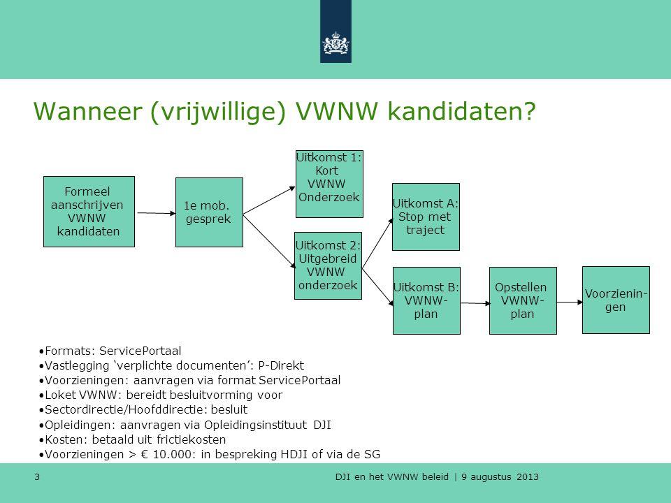 DJI en het VWNW beleid | 9 augustus 2013 Wanneer (vrijwillige) VWNW kandidaten.