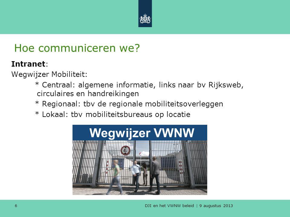 DJI en het VWNW beleid | 9 augustus 2013 Hoe communiceren we.