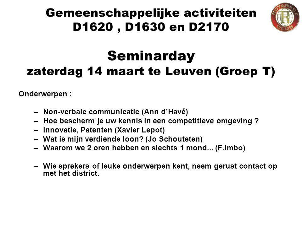 Gemeenschappelijke activiteiten D1620, D1630 en D2170 Seminarday zaterdag 14 maart te Leuven (Groep T) Onderwerpen : –Non-verbale communicatie (Ann d'Havé) –Hoe bescherm je uw kennis in een competitieve omgeving .