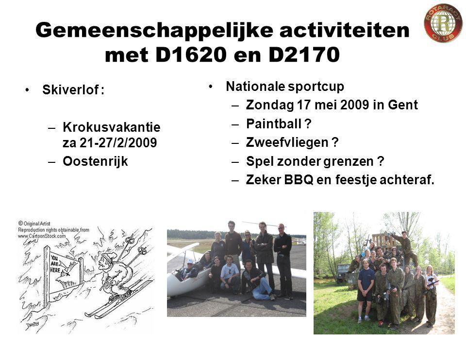 Gemeenschappelijke activiteiten met D1620 en D2170 Skiverlof : –Krokusvakantie za 21-27/2/2009 –Oostenrijk Nationale sportcup –Zondag 17 mei 2009 in Gent –Paintball .