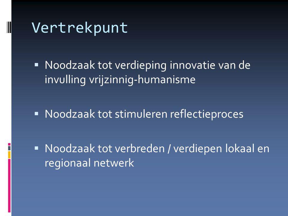 Vertrekpunt  Noodzaak tot verdieping innovatie van de invulling vrijzinnig-humanisme  Noodzaak tot stimuleren reflectieproces  Noodzaak tot verbreden / verdiepen lokaal en regionaal netwerk