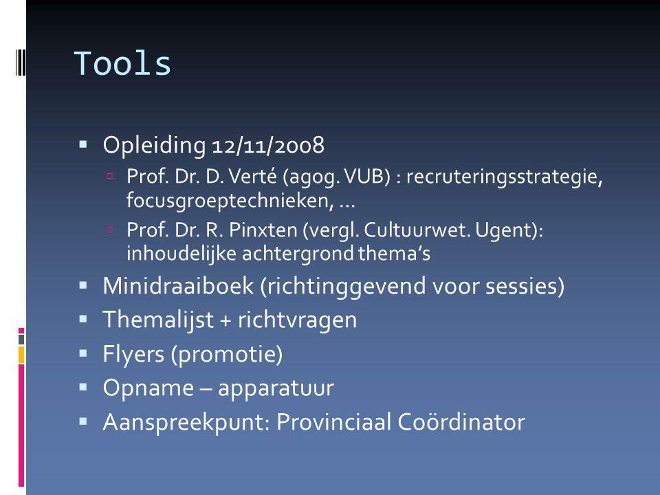 Tools  Opleiding 12/11/2008  Prof. Dr. D. Verté (agog.