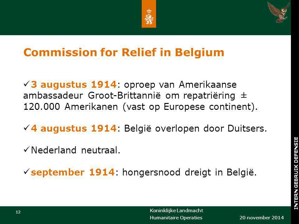 Koninklijke Landmacht 12 20 november 2014 Humanitaire Operaties INTERN GEBRUIK DEFENSIE Commission for Relief in Belgium 3 augustus 1914: oproep van A