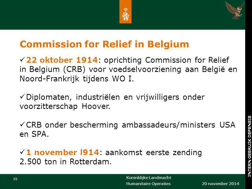 Koninklijke Landmacht 15 20 november 2014 Humanitaire Operaties INTERN GEBRUIK DEFENSIE Commission for Relief in Belgium 22 oktober 1914: oprichting C