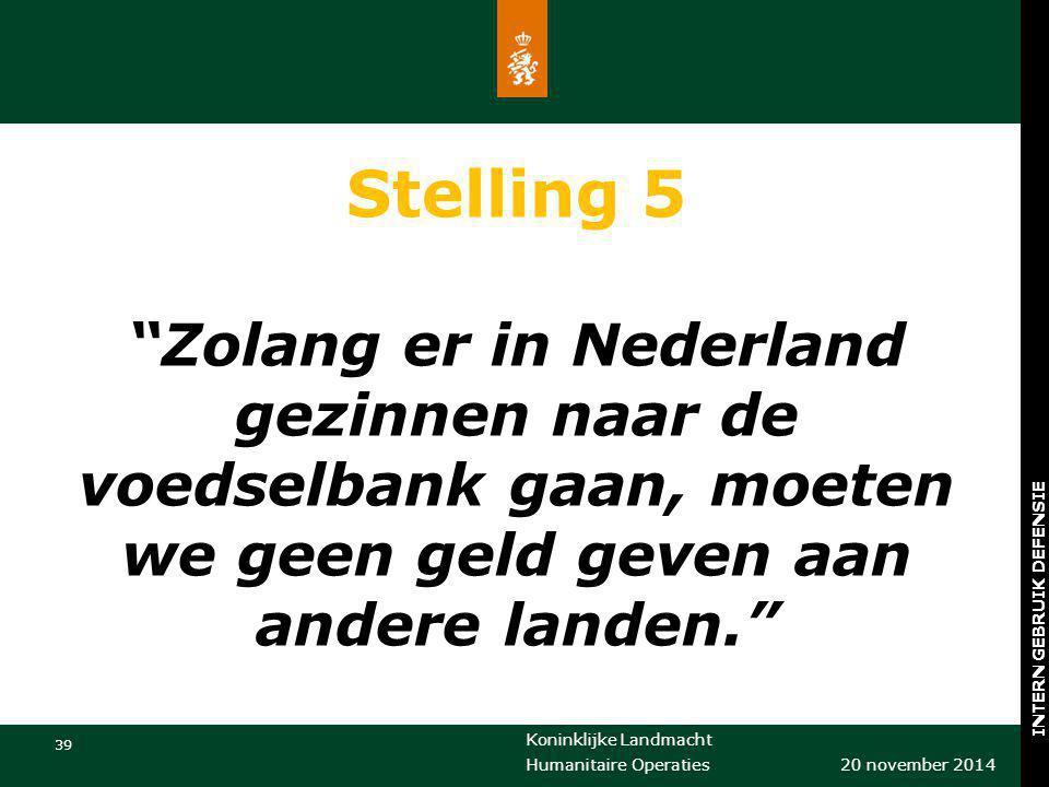 """Koninklijke Landmacht 39 20 november 2014 Humanitaire Operaties INTERN GEBRUIK DEFENSIE Stelling 5 """"Zolang er in Nederland gezinnen naar de voedselban"""