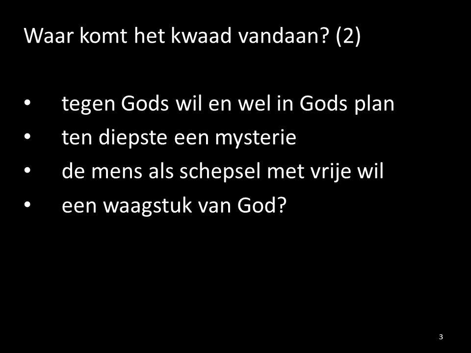 Waar komt het kwaad vandaan? (2) tegen Gods wil en wel in Gods plan ten diepste een mysterie de mens als schepsel met vrije wil een waagstuk van God?