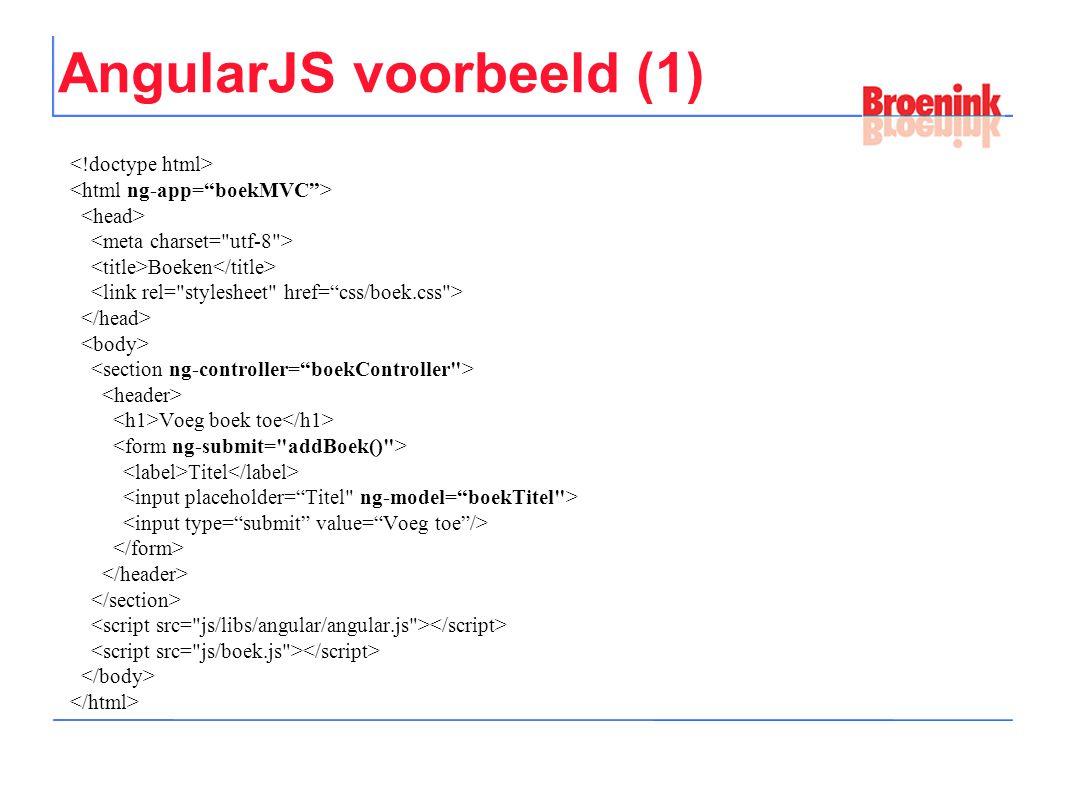 AngularJS voorbeeld (1) Boeken Voeg boek toe Titel