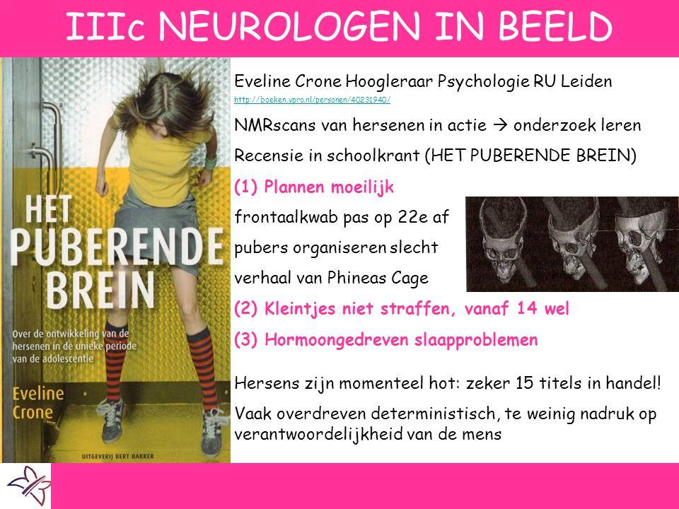 IIIc NEUROLOGEN IN BEELD Eveline Crone Hoogleraar Psychologie RU Leiden http://boeken.vpro.nl/personen/40231940/ NMRscans van hersenen in actie  onde