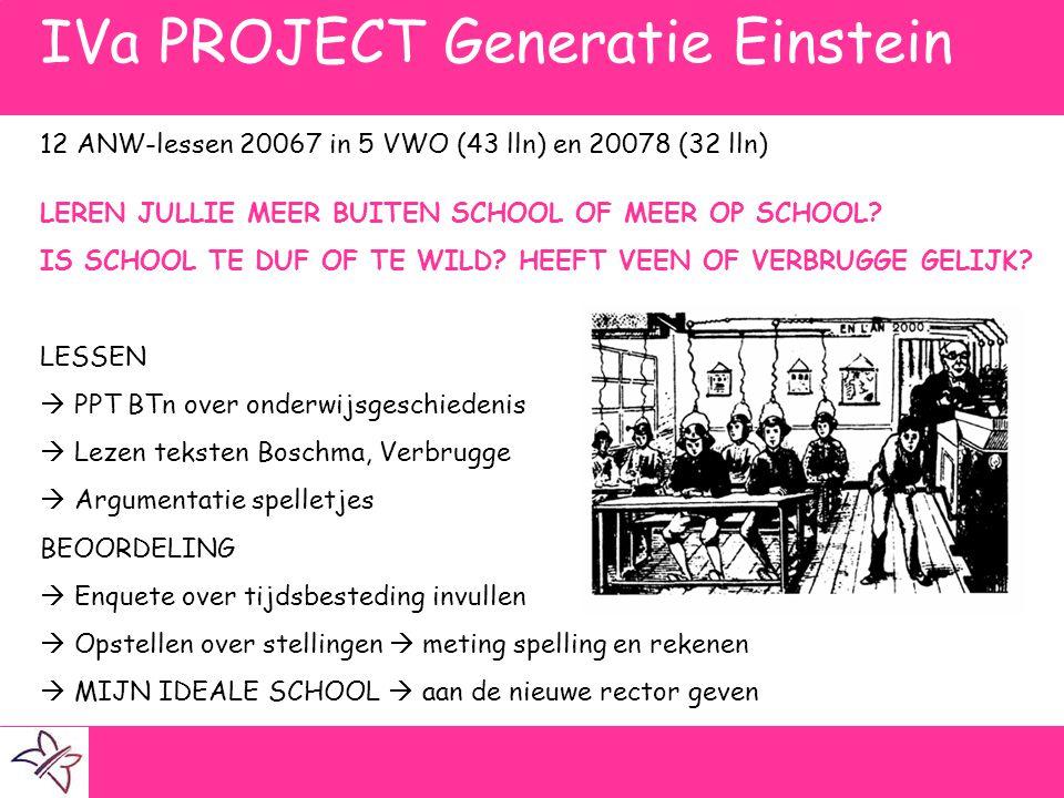 IVa PROJECT Generatie Einstein 12 ANW-lessen 20067 in 5 VWO (43 lln) en 20078 (32 lln) LEREN JULLIE MEER BUITEN SCHOOL OF MEER OP SCHOOL? IS SCHOOL TE