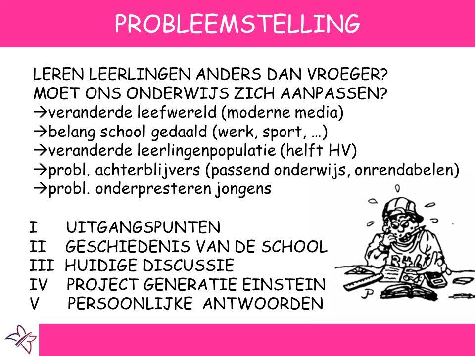 PROBLEEMSTELLING I UITGANGSPUNTEN II GESCHIEDENIS VAN DE SCHOOL III HUIDIGE DISCUSSIE IV PROJECT GENERATIE EINSTEIN V PERSOONLIJKE ANTWOORDEN LEREN LE