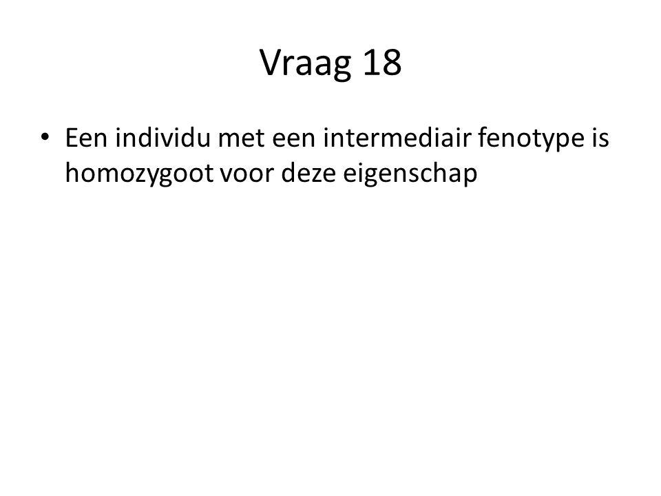 Vraag 18 Een individu met een intermediair fenotype is homozygoot voor deze eigenschap