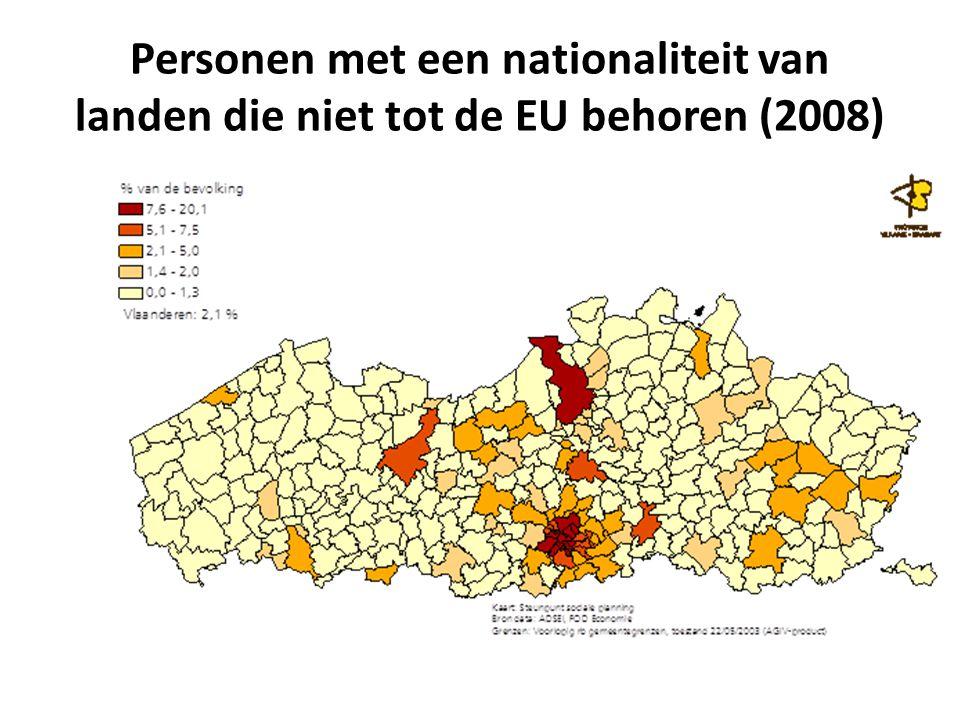 Personen met een nationaliteit van landen die niet tot de EU behoren (2008)