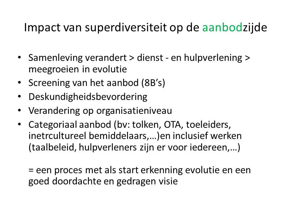 Impact van superdiversiteit op de aanbodzijde Samenleving verandert > dienst - en hulpverlening > meegroeien in evolutie Screening van het aanbod (8B'