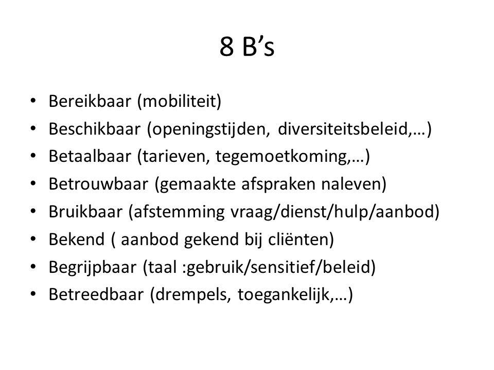 8 B's Bereikbaar (mobiliteit) Beschikbaar (openingstijden, diversiteitsbeleid,…) Betaalbaar (tarieven, tegemoetkoming,…) Betrouwbaar (gemaakte afsprak