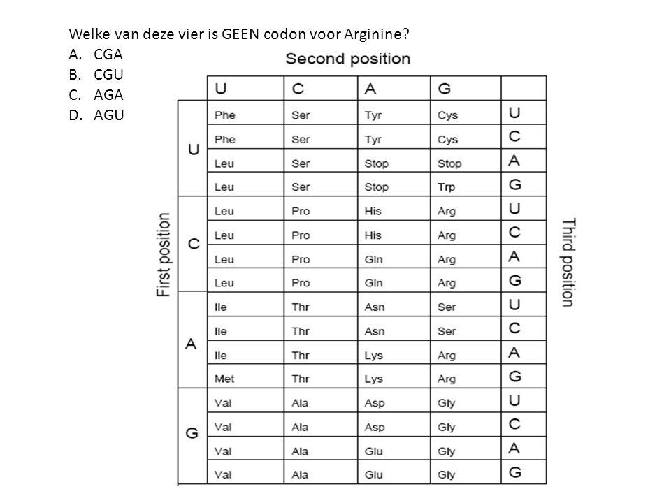 Welke van deze vier is GEEN codon voor Arginine? A.CGA B.CGU C.AGA D.AGU