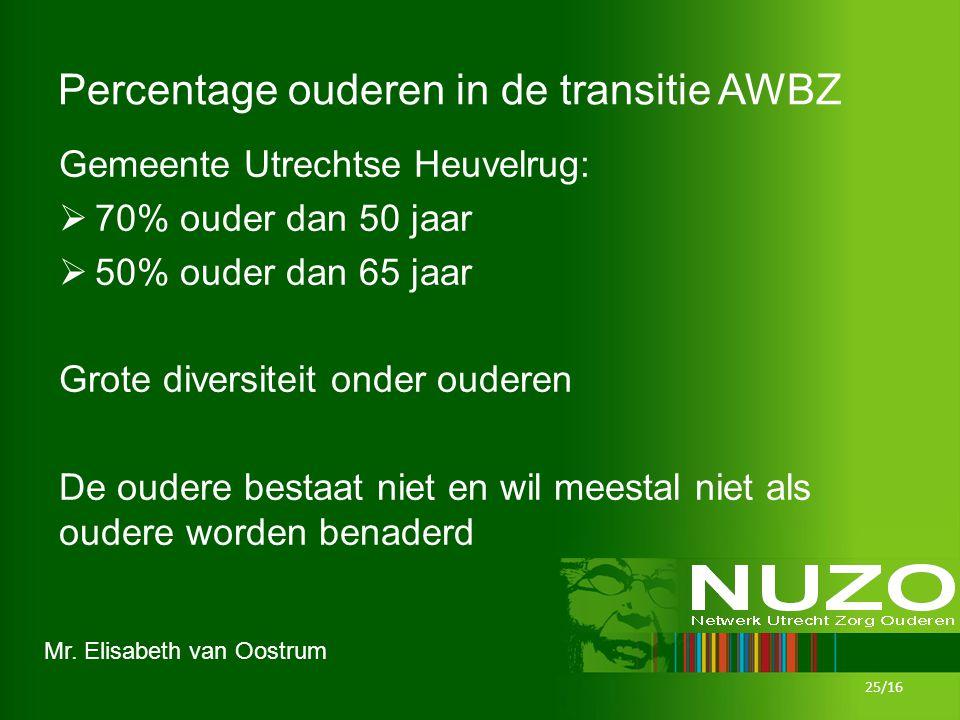 Mr. Elisabeth van Oostrum Percentage ouderen in de transitie AWBZ Gemeente Utrechtse Heuvelrug:  70% ouder dan 50 jaar  50% ouder dan 65 jaar Grote