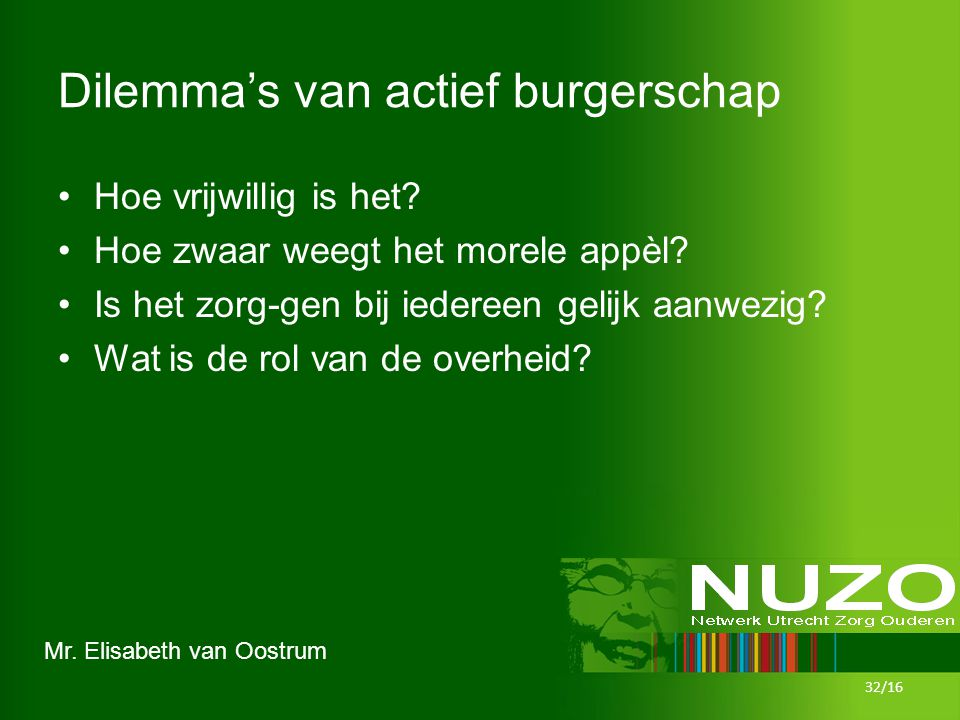 Mr. Elisabeth van Oostrum Dilemma's van actief burgerschap Hoe vrijwillig is het? Hoe zwaar weegt het morele appèl? Is het zorg-gen bij iedereen gelij